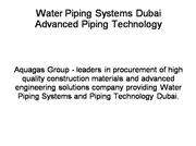 Water Piping Systems Dubai.