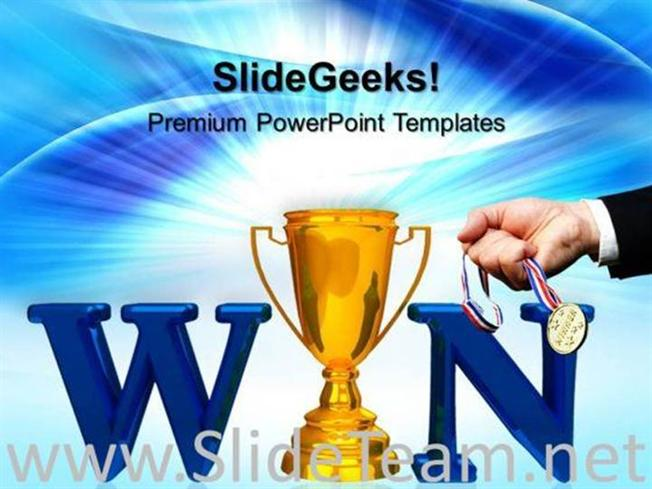 WINNER TROPHY WITH MEDAL SUCCESS POWERPOINT BACKGROUND PowerPoint