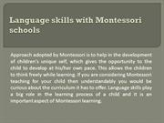 Language skills with Montessori schools