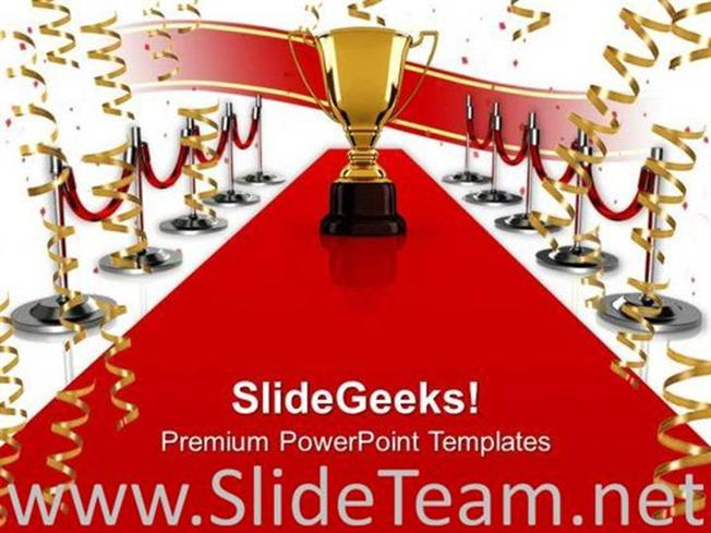 winning trophy on red carpet powerpoint background powerpoint template