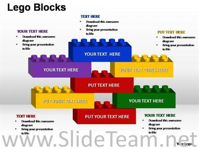 multicolored business lego block diagram powerpoint diagram