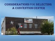 Considerations for Selecting a Convention center