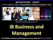IB Business and Management BUSINESS ORGANISATION AND ENVIRONMENT 1