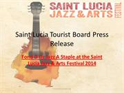 Saint Lucia Tourist Board Press Release - Fond D'Or Jazz 2014