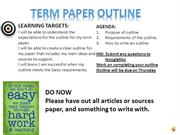 Term paper outline with narration