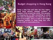 Budget shopping in Hong Kong