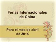 Ferias Internacionales de china para el mes de abril 2014
