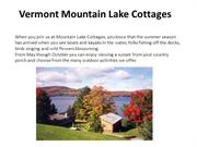 Vermont Mountain Lake Cottages