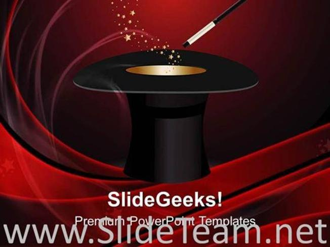 Hat Magic Wand With Stars Powerpoint Background Powerpoint