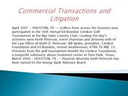 Commercial Transactions and Litigation