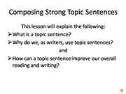 Composing Strong Topic Sentences