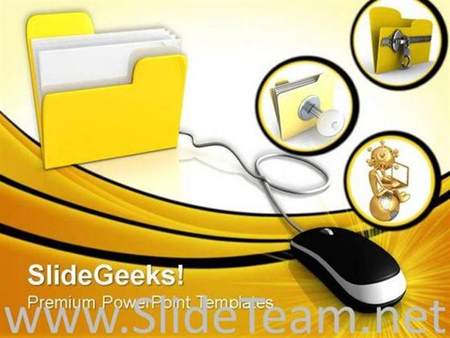 Yellow Computer Theme Internet Powerpoint Background Powerpoint Template