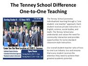 The Tenney School Difference One-to-One Teaching