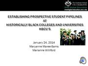 Establishing Prospective Student Pipelines at HBCUs
