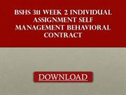 BSHS 311 Week 2 Individual Assignment Self Management Behavioral Contr