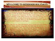 WELLCOME TO BENIDORM HOLYDAYS
