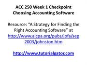 ACC 250 Week 1 Checkpoint Choosing Accounting Software