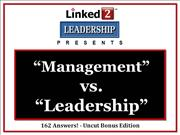 Magement vs Leadership