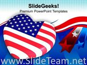 HEART SHAPED FLAG AMERICANA POWERPOINT BACKGROUND