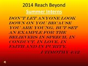 Reach Beyond 2014 Summer Chapel