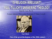 Is Religion Irrelevant? Paul Tillich's Answering Theology