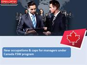 New occupations  caps for managers under Canada FSW program
