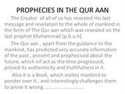 PROPHECIES IN THE QUR AAN