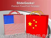 USA CHINA SYMBOL BY TWO RED SHOPPING BAGS POWERPOINT TEMPLATE