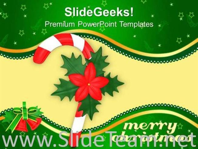 Red Single Candy Cane With Red Flower Christmas Powerpoint Template
