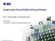 Single-Ended Fanout Buffers and Dividers by IDT