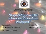 design of experiment in pharmaceutical industry.