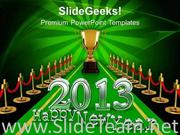 NEW YEAR CONCEPT ON WINNER CARPET POWERPOINT TEMPLATE