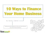 10 ways to Finance Your Home Business