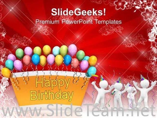 Happy Birthday Balloons Celebration Party Powerpoint Template