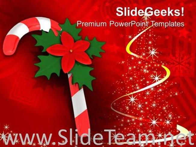 Red Candy Cane On Christmas Background Powerpoint Template