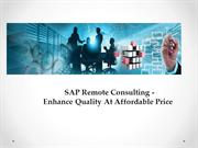 SAP Remote Consulting - Enhance Quality At Affordable Price