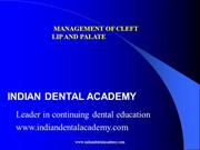 Management of Cleft Lip and Palate-1. /orthodontic courses by IDA