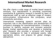 International Market Research Services