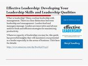 Developing Your Leadership Skills and Leadership Qualities