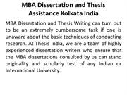 MBA Dissertation and Thesis Assistance Kolkata India