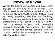 MBA Project for JARO