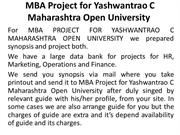 MBA Project for Yashwantrao C Maharashtra Open University