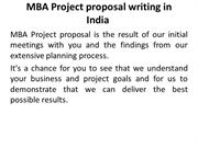 MBA Project proposal writing in India
