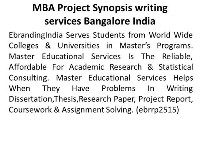 Mba Project Synopsis Writing Services Bangalore India Authorstream