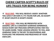 CHERIE CARTER-SCOTT'S RULES OF LIFE ('RULES FOR