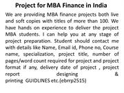 Project  for MBA Finance In India