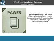 Free WordPress Auto Pages Extension
