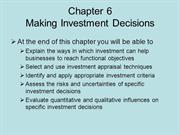 BUSS3 Chapter 6 Making Investment Decisions