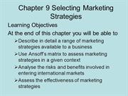 BUSS3 Chapter 9 Selecting Marketing Strategies