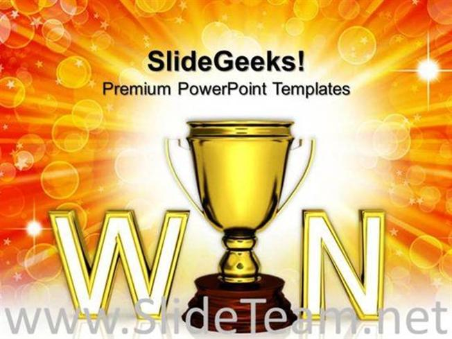 WIN TROPHY THE AWARD OR PRIZE WINNER COMPETITION POWERPOINT